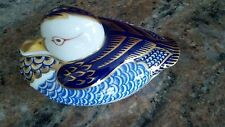Royal Crown Derby Duck Cobalt Blue Imari Paperweight Figurine w/ Gold Stopper