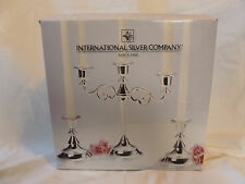 International Silver Company Beaded 3 pc. Candelabra and Candlestick Pair NEW