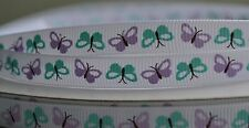 """10mm (3/8"""") WHITE w/ BLUE & LILAC BUTTERFLY grosgrain ribbon 3mtrs for crafts"""