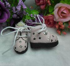 "12""  Blythe Pullip Momoko DAL Obitsu Bjd Doll Shoes Velvet Star Hole Boots PINK"