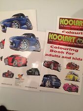 Koolart cartoon colouring book 20 pages of cars adults children ford audi mini