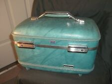 Vintage Blue American Tourister Luggage Train Case Makeup Case W/ Tray & Mirror
