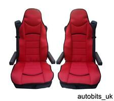 RED PREMIUM PADDED SEAT COVERS SET OF 2 CUSHIONED FOR MERCEDES AXOR ATEGO ACTROS