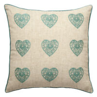 Catherine Lansfield Vintage hearts duck egg cushion cover