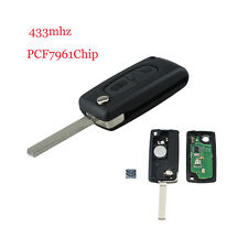 For Citroen C2 C3 C4 PICASSO C5 2Button Remote Alarm Flip Key Fob 433MHz PCF7961