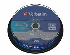 43746 Verbatim BD-R DL 50GB 6x Blu-ray Media (10 Pack Spindle) For 3D Recording