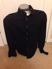 Men's Guess Jeans Black  BUTTON DOWN Long Sleeved Dress Shirt With Logo - M
