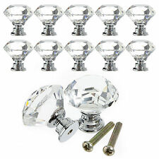 10Pcs 30mm Crystal Glass Cabinet Knob Diamond Shape Drawer Cupboard Handle Pull