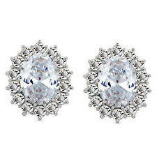 Luxury Bridal Wedding Jewellery White Zircon Queen Design Stud Earrings E848