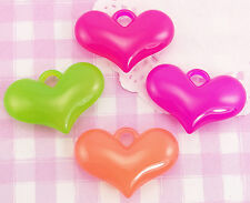 8 x X-LARGE Colourful Heart Shaped 3D Kawaii Beads Jewellery Making