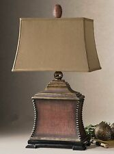 """Beaded Table Lamp Aged Red 33"""" Textured Base Tuscan Rivet Stud Antique Gold New"""