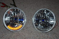 "7"" Tri Bar BLUE Dot Street Hot Rat Rod H4 Headlights w/ Amber LED Turn Signals"