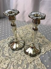 Antique Vtg Pair Silver Plate Candle Sticks Holder Empire Art Nouveau Francis ?