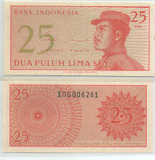 "Indonesia 25 cent  UNC 1964 ""X"" Replacement Banknote Rupiah"