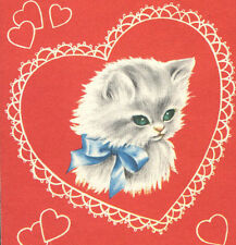 Vintage Valentines Day Card White Kitten Blue Bow Green Eyes HELLO