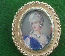 18K yellow gold framed hand painted Cameo Portrait diamond Ruby pendant / Brooch