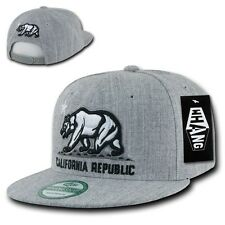 Heather Gray California Republic Cali Bear Flat Bill Snapback Snap Back Hat Cap