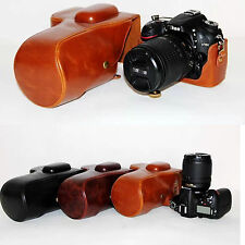 Leather Camera Case Bag For Nikon D3100 D3200 DSLR 18-55mm / 18-105mm lens