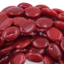"18mm red jade flat oval beads 15"" strand S1"