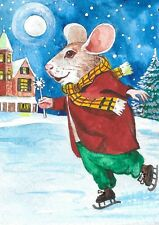 ACEO PRINT OF WATERCOLOR PAINTING RYTA MOUSE XMAS FOLK ART ICE SKATING LANDSCAPE