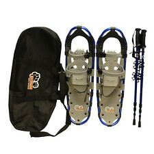 "New DePaw Blue Man Woman Kid 27"" Snowshoes Free Bag with Pole"