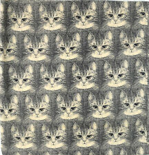 """Vintage All Over Repeating Cat Face Print Sewing Fashion Craft Fabric 37"""" x 45"""""""