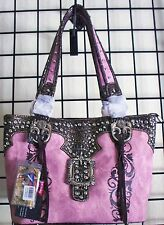 Montana West Purse Fringed Pink Western Handbag Fancy Rose Chic Buckle NWT Rodeo
