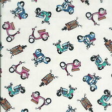 Fat Quarter Mopeds / Scooters Cotton Quilting Fabric 50cm x 55cm  Cream / Ecru