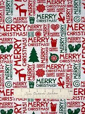 Christmas Fabric - Red & Green Holiday Words Patch - Springs Cotton YARD