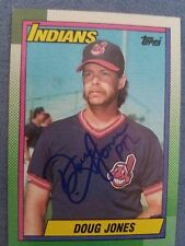 DOUG JONES autographed baseball card signed 1990 Topps #75 auto Cle Indians