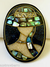 Fashion Lady in Hat Abalone Shell Inlay black bakelite oval pin brooch