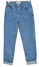 Topshop MOM High Waisted Vintage Blue Slim Tapered CROP Jeans Size8 W26 L34