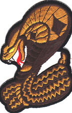 KING COBRA SNAKE, COILED, REPTILE - Iron On Embroidered Patch/Snake, Biker,Vest