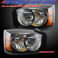 2005 2006 2007 DODGE DAKOTA BLACK HOUSING HEADLIGHTS PAIR BULBS INCLUDED