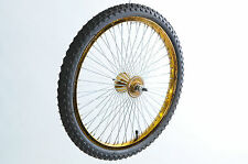 "20"" GOLD FRONT BIKE WHEEL 68 RADIAL SPOKE +TYRE & TUBE SUIT BMX DRAGSTER CRUISER"