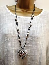 New Lagenlook Silver & black Colour Long chunky heart Necklace Pendant uk