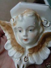 VINTAGE FIGURAL ANGEL CERAMIC JAPAN MINIATURE WALL SHELF ADORABLE SET of 3 RARE