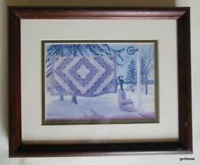 "Framed Print Amish Quilt on Clothes Line Winter Susie Riehl 9 x 11"" Vintage 90's"