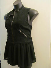 Awesome DAYTRIP BUCKLE Black VEST TOP M/L ZipOff Chiffon Peplum GOTH ROCKERCHICK