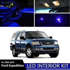17PCS Blue LED Interior Light for 2003-2015 Ford Expedition White for License
