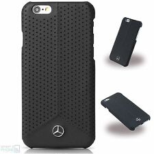 Mercedes cuero genuino perforados hard case cover funda bolsa iPhone 6, 6s negro