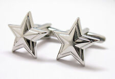 Silver Prismatic Star Cufflinks Cuff Links Free Same Day Shipping New in Box