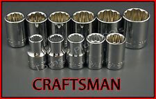 CRAFTSMAN HAND TOOLS 11pc LOT 1/2 Dr SAE 12pt ratchet wrench socket set
