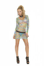 Charming Style Long sleeve mini dress in geometric print One Size Multi-Color
