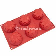 Freshware 6-Cavity Silicone Sunflower Muffin, Brownie, Cake and Soap Mold