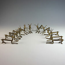 Antique French Hand Crafted Metal Knife Rests, set of 11, Reindeer