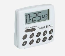 NEW West Bend 2-Function Kitchen Cooking LCD Timer White Upto 100 Hours 40005X