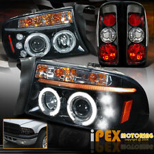 1997-2004 Dakota Projector LED Shiny Black Headlights + Euro Black Tail Lights