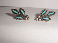 Vintage Zuni  Turquoise  sterling silver earrings petit  point