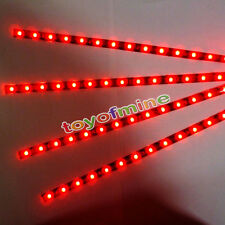 4pcs 15 Bar LED 30cm Car Auto Flexible Grill Light Lamp Strip Waterproof RED